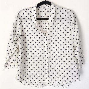 | Uniqlo | button up polka dot shirt